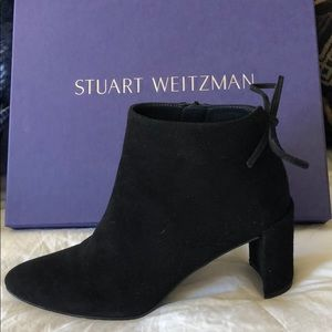 Stuart Weitzman Black Suede Lofty Booties